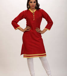 Buy Maroon cottan printed stitched kurti cotton-kurti online