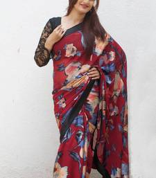 Buy Red Brasso Floral printed-saree online