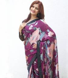 Buy Purple Brasso Floral brasso-saree online
