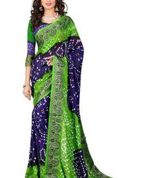 Buy Blue printed art silk saree With Blouse bandhani-sarees-bandhej online