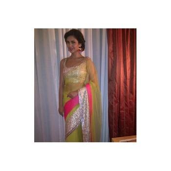 e3e37413dbaa2 Esha Gupta in Neon green net saree - Jaipur Handicrafts   Fashions - 144001