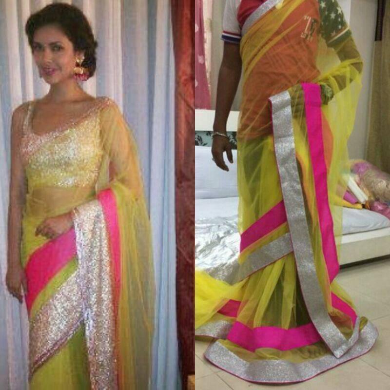 2e1da018ce4b0 Esha Gupta in Neon green net saree - Jaipur Handicrafts   Fashions ...