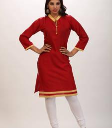 Buy Maroon printed cotton stitched kurti kurtas-and-kurti online