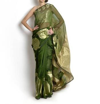 Supernet Fancy Aanchal Border Saree
