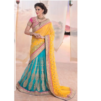 7bb3ce2ae2 Yellow and sky blue embroidered georgette lehenga saree with blouse -  RenishaFashion - 467357
