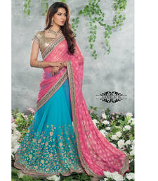 Buy Blue and Pink embroidered chiffon saree with blouse chiffon-saree online