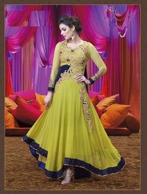755eaf412a Light Green embroidered Georgette semi stitched salwar with dupatta -  AnBazaar - 1197056