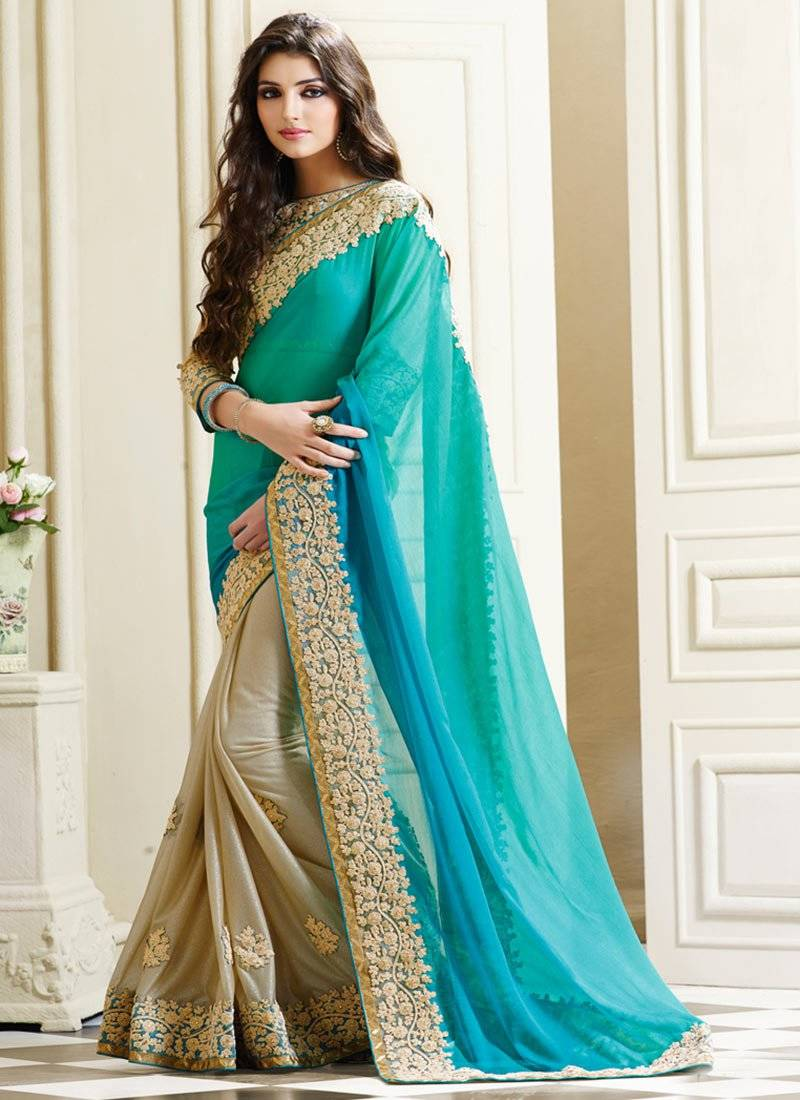 d4bdf3a401 light_teal embroidered net saree With Blouse - Krishi Fab - 1197967