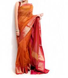 Supernet Cotton Zari Border Saree shop online