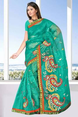 Super net saree attached brocket border and blouse - 421
