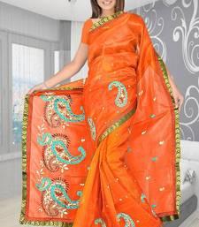 Buy Super net saree attached brocket border and blouse -422 supernet-saree online