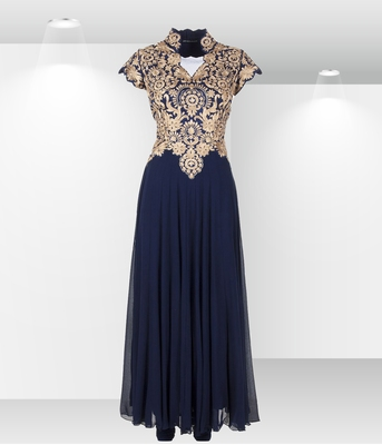 Blue Georgette Embroidered Semi Stitched Party Wear Gown
