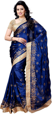 Nevy Blue embroidered satin saree With Blouse