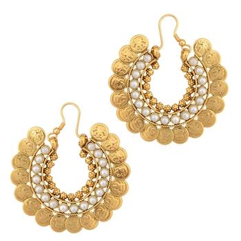 Kundan colourful pearl bali hoop earring,Ethnic Indian Bollywood Jewelry