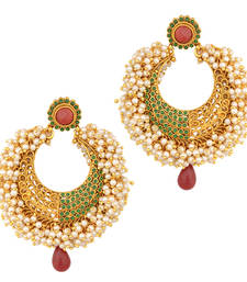 Maroon green firozi stones with rows of chandni pearls antique golden earring