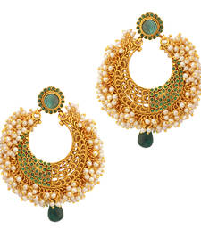 Buy Turquoise firozi stones with rows of chandni pearls antique golden earring danglers-drop online