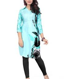 Buy Blue printed crepe semi stitched kurti kurtas-and-kurti online