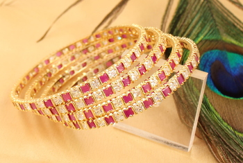 Awesome Designer Ruby White Party Wear Bangles