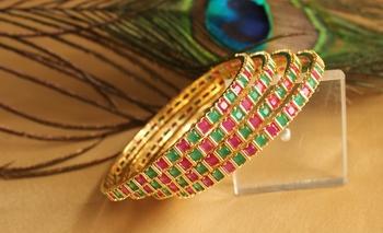 Royal Semiprecious Ruby Emerald Bridal Bangles