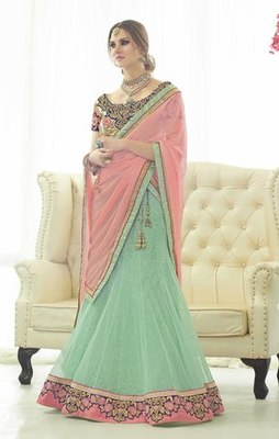Aqua net embroidered unstitched lehenga choli