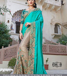 Buy violet embroidered georgette saree With Blouse bridal-saree online