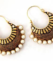 ANTIQUE GOLD PLATED WHITE STONE BALI