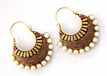 ANTIQUE GOLD PLATED PINK STONE BALI