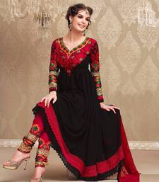 Buy Black georgette embroidered semi stitched salwar with dupatta anarkali-salwar-kameez online