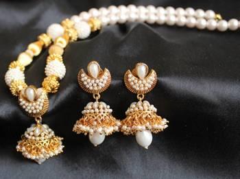Gorgeous Royal Pearl Cz Unique Jhumka Pendant Necklace Set