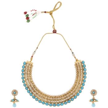 Blue polki necklace-sets