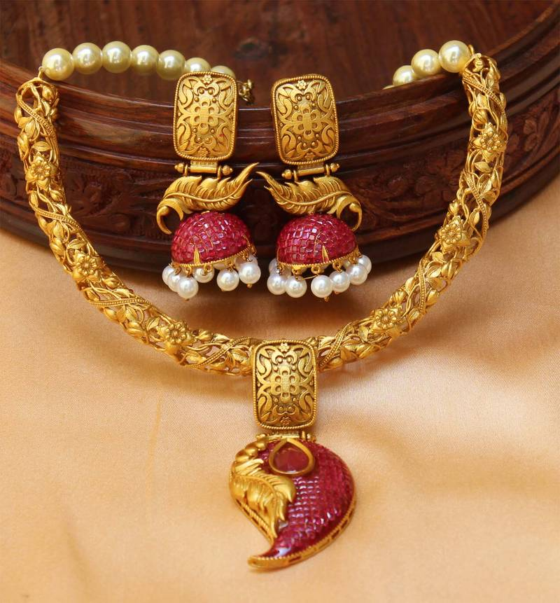 1 Gram Jewellery: Buy Awesome Designer One Gram Gold Necklace Set With