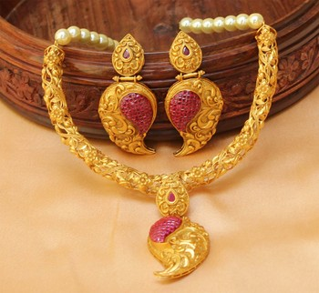 Awesome Designer One gram gold  Necklace set with earrings
