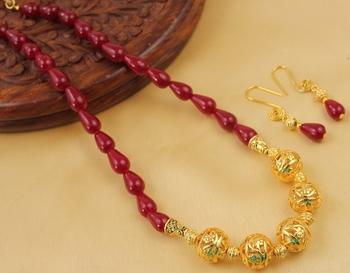 Stunning Handmade Maroon Designer Balls Necklace Set