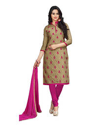 Buy Beige embroidered jacquard and cotton unstitched salwar with dupatta dress-material online