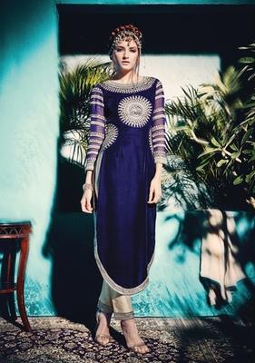 blue velvet embroidered semi stitiched salwar with dupatta
