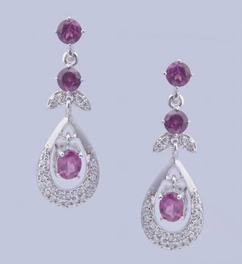 Sterling Silver Earrings With Gemstone