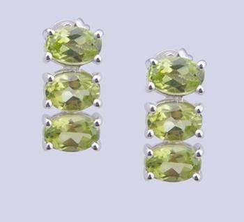 925 Sterling Silver Earrings With Peridot Gemstone