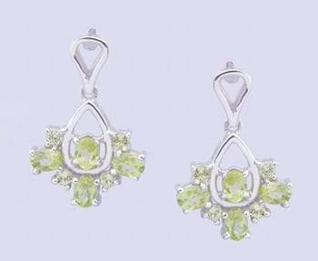 Peridot Gemstone Earrings, Sterling Silver Earrings