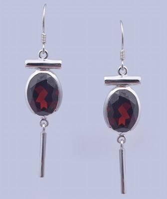 Garnet Gemstone Earrings, Sterling Silver Studs