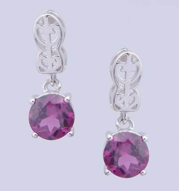 925 Sterling Silver Earring With Rhodolite Garnet Stone