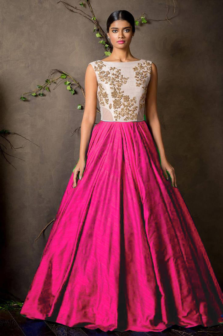 Buy Pink raw silk embroidered semi stitched party-wear-gowns Online