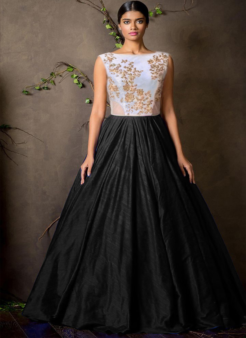 a2589913dcd Black raw silk embroidered semi stitched party-wear-gowns - HETAL PATEL -  1208141