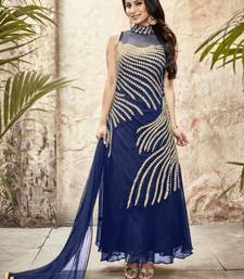 Buy Styles closet blue georgette embroidery semi stitiched indian gowns party-wear-gown online