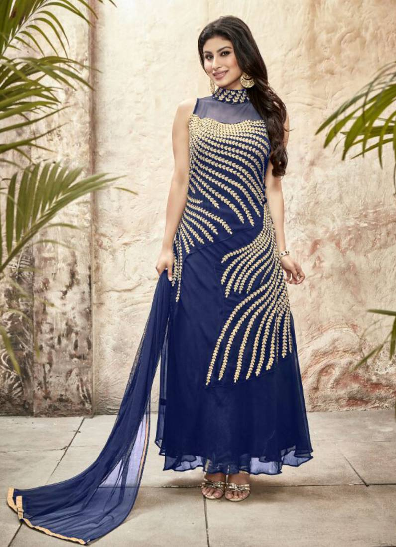 Buy Styles Closet Blue Georgette Embroidery Semi Stitiched