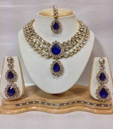 Buy Three Chain Crystal Necklace Set in Royal Blue Color black-friday-deal-sale online