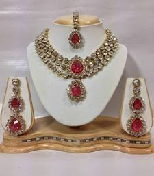 Buy Three Chain Kundan Jewelry Set in Romantic Pink Color necklace-set online