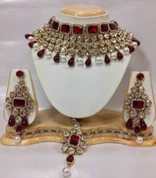 Buy Crystal Studed Jewelry Set in Maroon with Pearls black-friday-deal-sale online