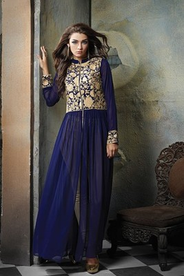 Blue georgette embroidered semi stitched salwar with dupatta