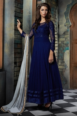 Blue net embroidered semi stitched salwar with dupatta
