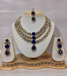 Buy Famous Crystal Jewelry Set in Royal Blue diwali-jewellery online